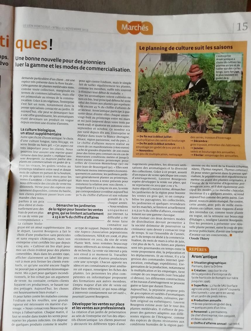 Magazine Lien Horticole et Arom'antique